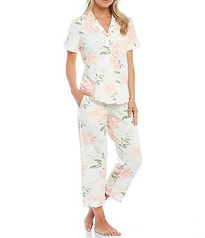 Cabernet Floral-Print Knit Button Front Short Sleeve Cropped Mid-Rise Pajama Set