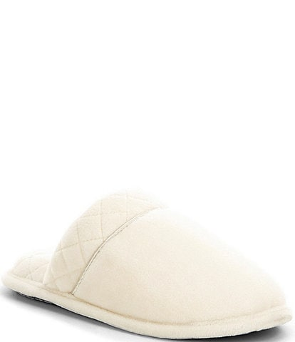Cabernet Microfiber Velour Quilted Slippers