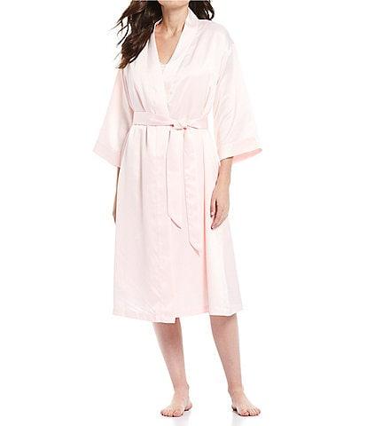 Cabernet Satin Short Wrap Robe