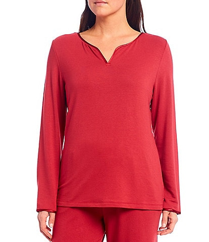 Cabernet Solid French Terry Notch V-Neck Long Sleeve Sleep Top