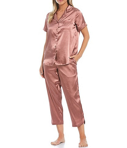 Cabernet Solid Satin Pajama Set