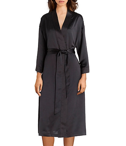 Cabernet Solid Satin Short Wrap Robe