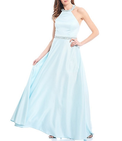 Cachet Beaded Halter Neck Lace-Up Back Satin A-Line Ballgown
