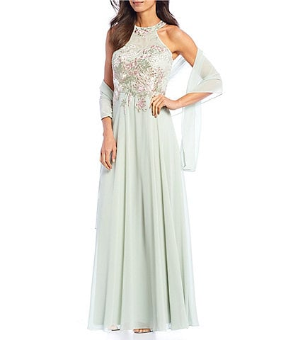 Cachet Embroidered Chiffon Halter Gown