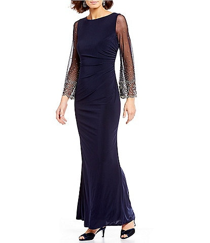 Cachet Illusion Beaded Sleeve Gown