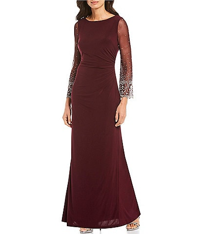Cachet Illusion Beaded Sleeve Stretch Gown