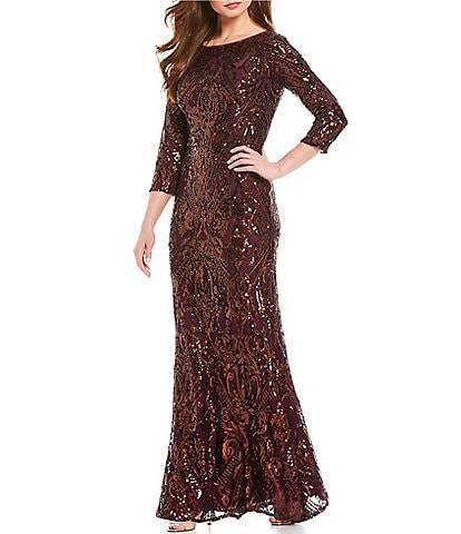 Cachet Metallic Sequin Gown
