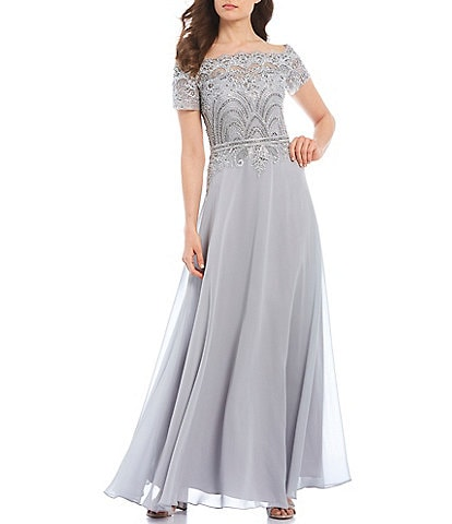 Cachet Off-the-Shoulder Short Sleeve Lace Gown