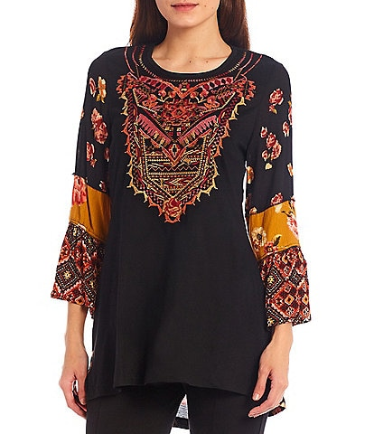 Calessa 3/4 Bell Cuff Sleeve Jewel Neck Embroidered Tunic