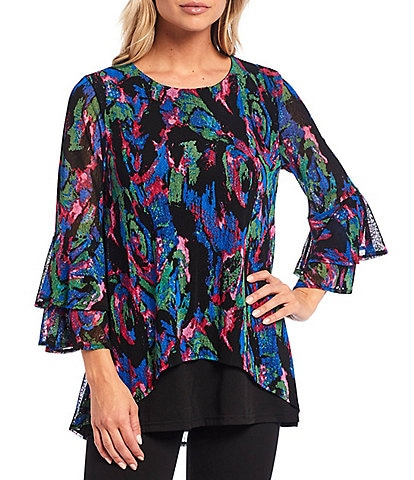 Calessa 3/4 Bell Sleeve Abstract Print Scoop Neck Mesh Tunic