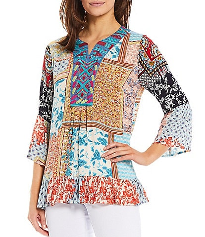 Calessa 3/4 Bell Sleeve Mixed Panel Patchwork Print Embroidery Ruffle Hem Tunic