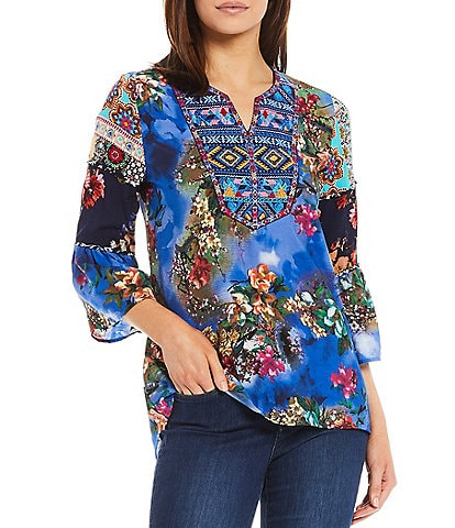 Calessa 3/4 Bell Sleeve Split Round Neck Embroidered Mixed Panel Floral Print Tunic