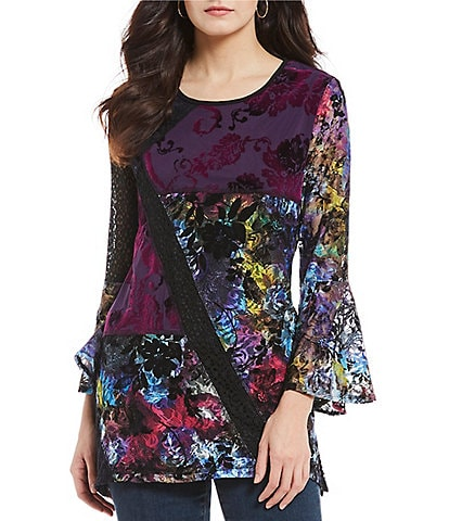 Calessa Abstract Floral Print Long Sleeve Tunic