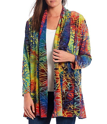 Calessa Abstract Print Burnout Tie Dye Open Front Cardigan