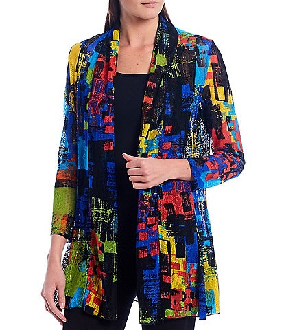 Calessa Abstract Print Open Front Mesh Cardigan