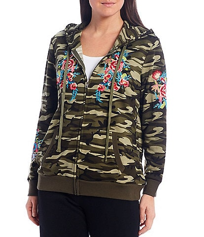 Calessa Camouflage Print Floral Embroidery Zip Front Hoodie