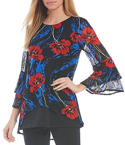 Calessa Crinkle Mesh Double 3/4 Bell Sleeve Jewel Neck High-Low Hem Floral Print Tunic