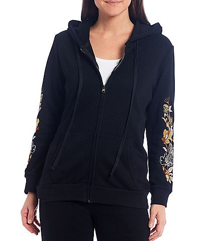 Calessa Embroidered Sleeve Zip Front Hoodie