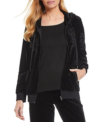 Calessa Embroidered Zip Front Cotton Hoodie