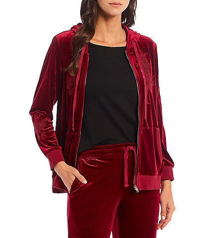 Calessa Embroidered Zip Front Long Sleeve Cotton Hoodie