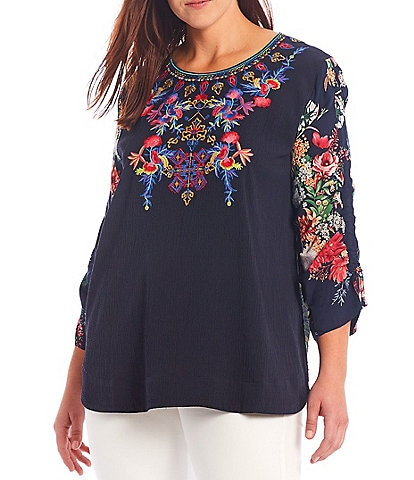 Calessa Plus Size Floral Printed Bracelet Sleeve Jewel Neck Embroidered Crinkle Blouse
