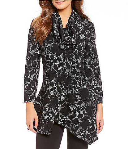 Calessa Floral Print Faux Cowl Neck Scarf Tunic