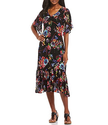 Calessa Floral Print Mesh Short Sleeve Midi Knit Dress