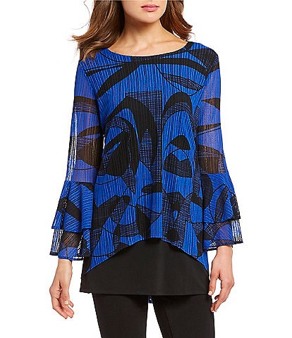 Calessa Geometric Print Tiered Bell Sleeve Boat Neck Hi-Low Tunic