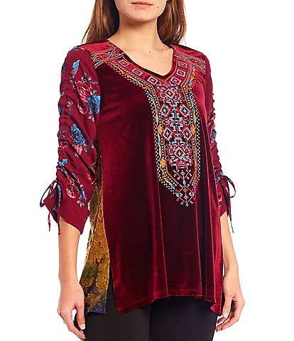 Calessa 3/4 Cinched Floral Print Sleeve Embroidered V-Neck Velvet Tunic