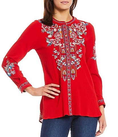 Calessa Mixed Media Floral Embroidery Contrast Back 3/4 Sleeves Button Front Tunic