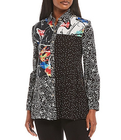 Calessa Patchwork Mixed Polka Dot & Abstract Print Button Front Tunic