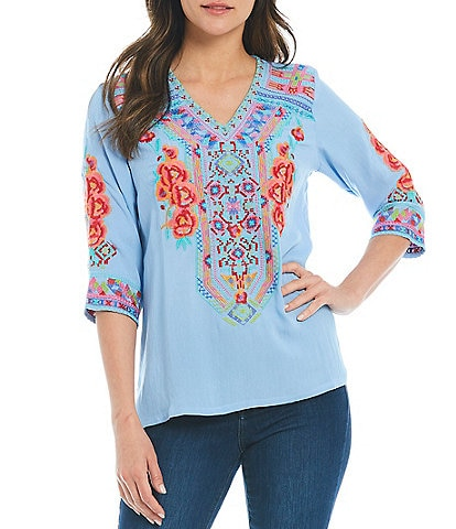 Calessa Petite Size 3/4 Sleeve Floral Embroidery Tunic