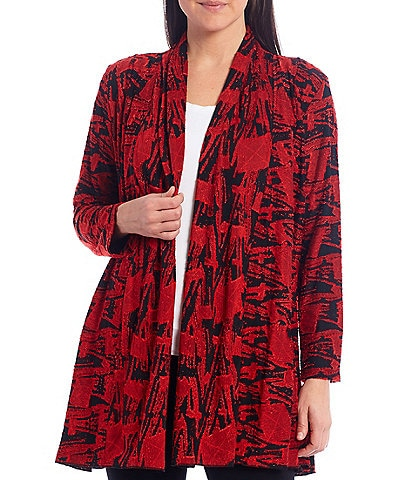 Calessa Petite Size Abstract Burnout Long Sleeve Cardigan