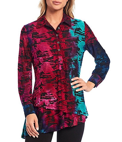 Calessa Petite Size Abstract Tie-Dye Button Front Long Sleeve Asymmetric Tunic