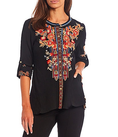 Calessa Petite Size Floral Embroidery Round Neck Button Front Long Roll-Tab Sleeve Tunic