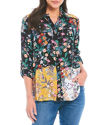 Calessa Petite Size Long Roll Tab Sleeve Mixed Floral Panel Tunic Top