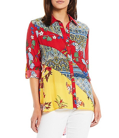 Calessa Petite Size Patchwork Print Embroidery Detail Collared Button Front Shirt