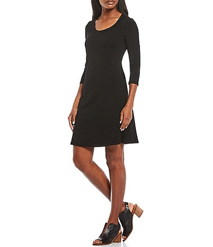 Calessa Petite Size Scoop Neck 3/4 Sleeve Fit & Flare Knit Dress