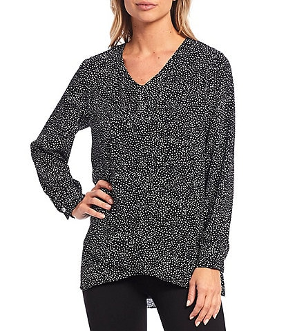 Calessa Petite Size V-Neck Long Sleeve Dot Print Crossover Hi-Low Hem Tunic