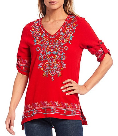 Calessa Petite Size V-Neck Roll-Tab Sleeve Crinkle Embroidered Pullover Tunic