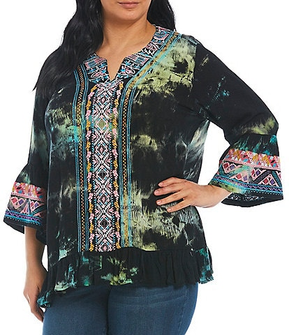 Calessa Plus size 3/4 Bell Sleeve Tie Dye Embroidery Tunic