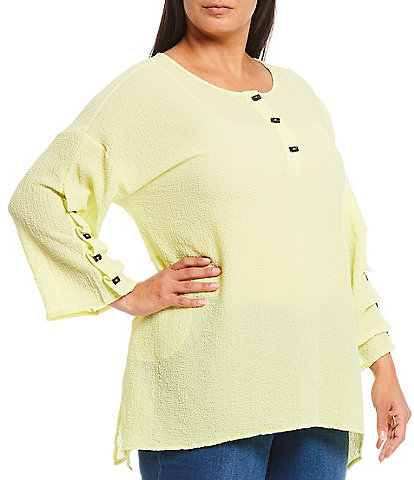 Calessa Plus Size 3/4 Sleeve Crinkle Button Front Detail Tunic