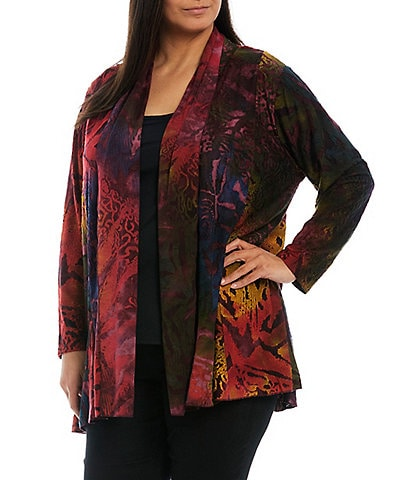Calessa Plus Size Abstract Animal Tie-Dye Burnout Long Sleeve Cardigan