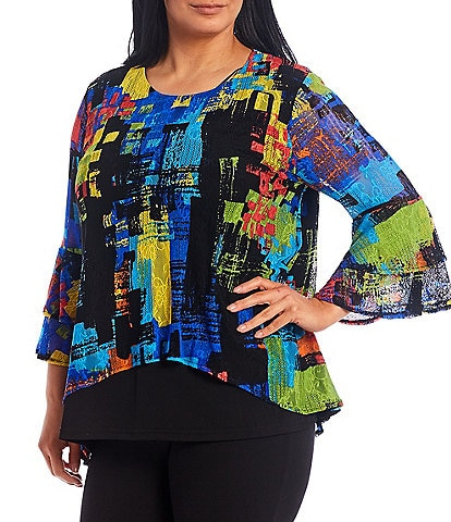 Calessa Plus Size Abstract Multicolor Mesh Knit Bell Sleeve Tunic