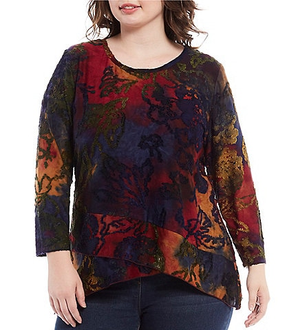 Calessa Plus Size Abstract Tie-Dye Burnout 3/4 Sleeve Crossover Hem Tunic