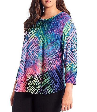 Calessa Plus Size Abstract Tie-Dye Burnout 3/4 Sleeve Jewel Neck Tee