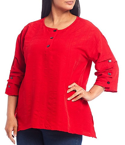 Calessa Plus Size Crinkle Woven Tuck Detail 3/4 Sleeve Tunic