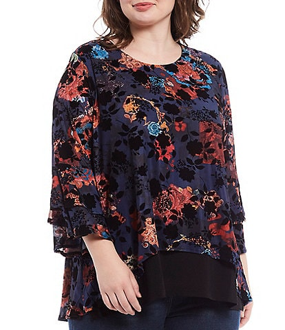 Calessa Plus Size Floral Burnout 3/4 Bell Sleeve Hi-Low Tunic