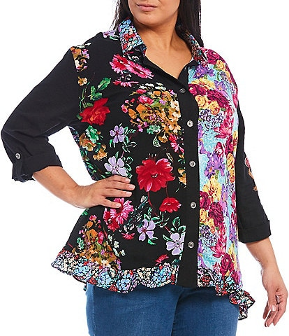 Calessa Plus Size Floral Print Button Front Roll-Tab Sleeve Ruffle Hem Tunic