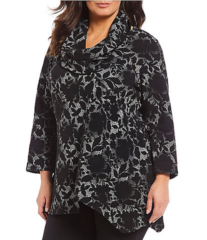 Calessa Plus Size Floral Print Cowl Neck Tunic Top